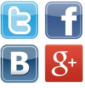 Twitter, Facebook, ВКонтакте и Google Plus