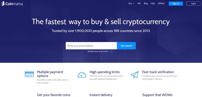 Криптовалютная биржа - Coinmama.com
